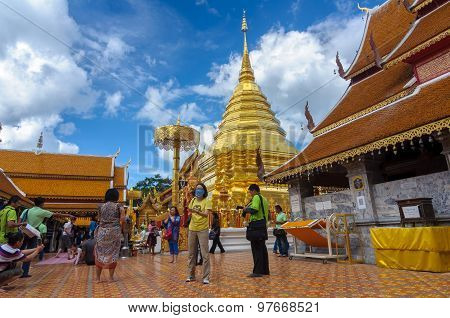 Chiang Mai, Thailand-june 9 : Many Tourists Visit Stupa Of Wat Phra That Doi Suthep , 2015, Chiang M