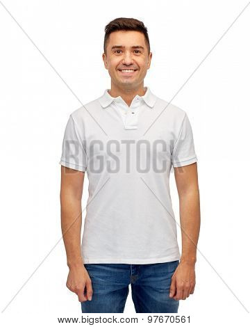 clothing, advertisement and people concept - smiling middle aged latin man in white blank polo t-shirt