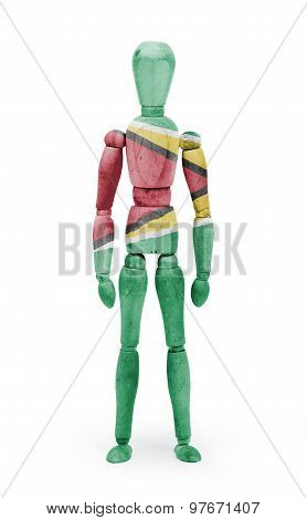 Wood Figure Mannequin With Flag Bodypaint - Guyana