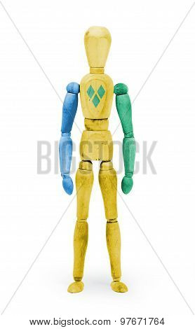 Wood Figure Mannequin With Flag Bodypaint - Saint Vincent And The Grenadines