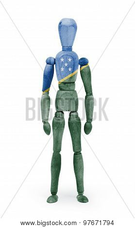 Wood Figure Mannequin With Flag Bodypaint - Solomon Islands