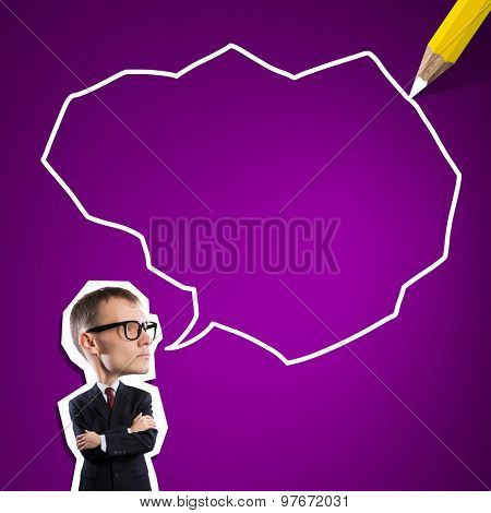 Sketch of successful businessman concept with blank bubble speech