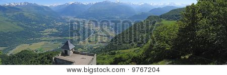 Panoramic View From The Lourdes Christian City Famous For His Pilgrimage From The Medieval Castle Of