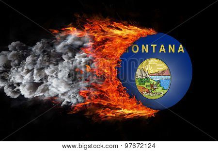 Flag With A Trail Of Fire And Smoke - Montana
