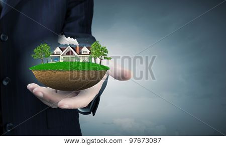 Close up of businessman hand holding green concept in palm