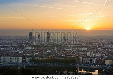 Sunrise over the city of Lyon, France
