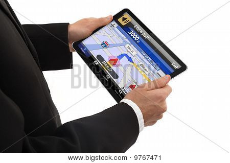 Businessman Holding A Touchpad Pc
