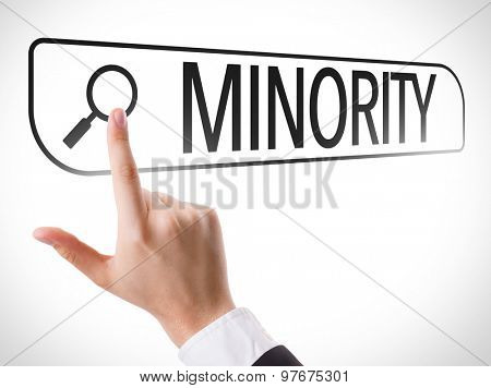Minority written in search bar on virtual screen