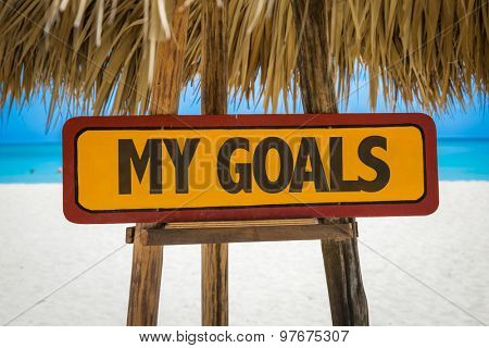 My Goals sign with beach background