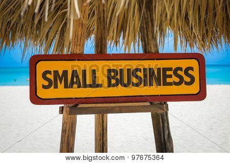 Small Business sign with beach background