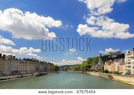 View Of Saone's River Through Lyon City, France