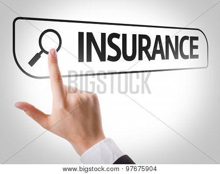 Insurance written in search bar on virtual screen