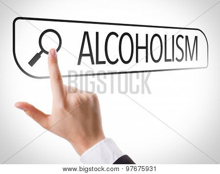 Alcoholism written in search bar on virtual screen