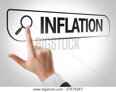 Inflation written in search bar on virtual screen
