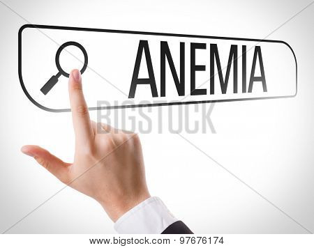 Anemia written in search bar on virtual screen