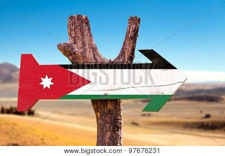 Jordan Flag wooden sign with desert background