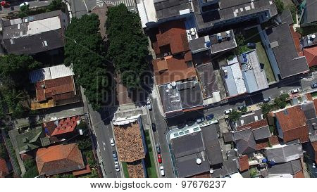 Aerial View of a Big City in Brazil