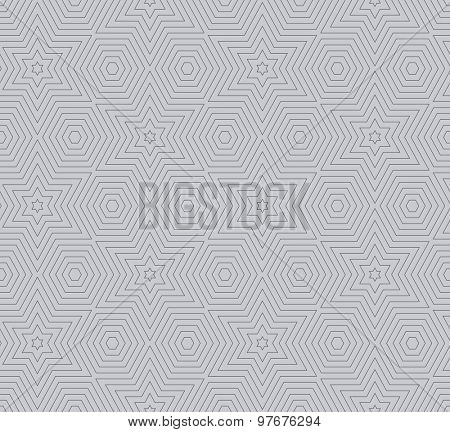 Simple seamless star shaped lines vector geometric pattern.