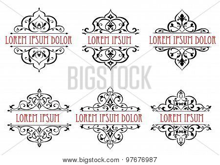 Vintage floral frames, dividers and borders