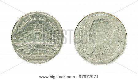 5 Thai Baht Coin Isolated On White Background - Set