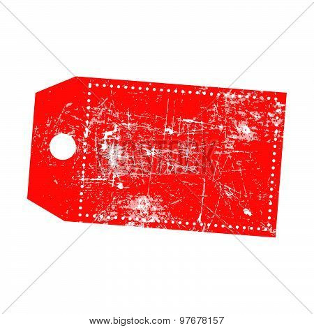 Illustration Vector Grunge Stamp Of Empty Red Price Tag With Marks Of Omission