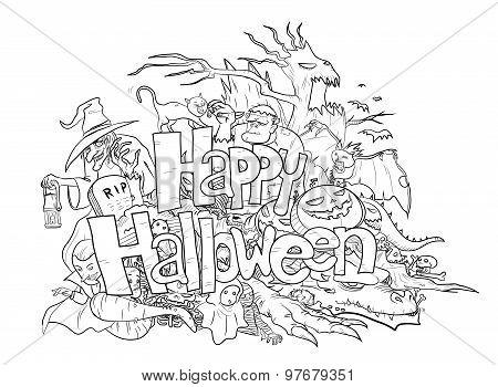 Happy Halloween Doodle (black & white)