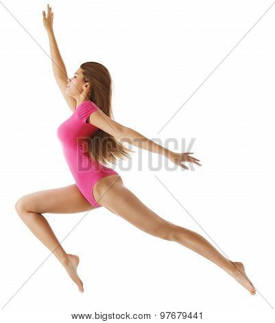 Running Sport Woman, Sexy Girl In Long Jump Over White, Young Gymnast, Sensual Leotard