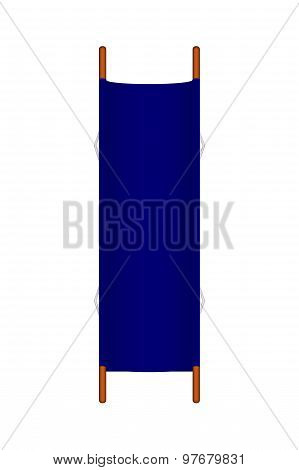Retro stretcher in blue design with wooden handles
