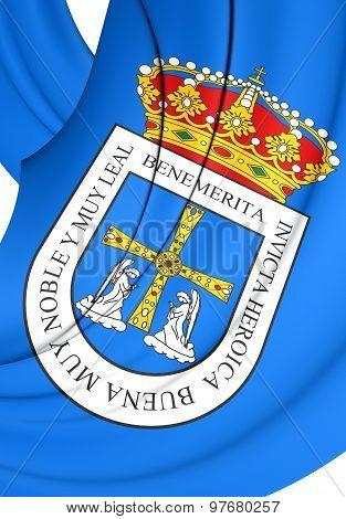 Flag Of Oviedo City, Spain.