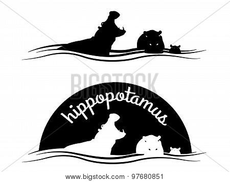 Animal of wildlife ( Hippo ) Vector black white design