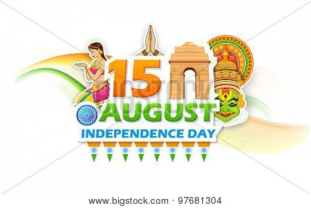 illustration of Independence Day of India background with India Gate
