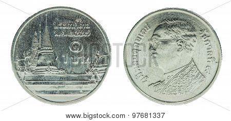 1 Thai Baht Coin Isolated On White Background - Set
