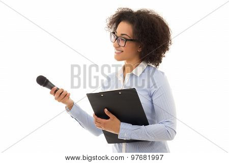 African American Female Reporter With Microphone And Clipboard Isolated On White