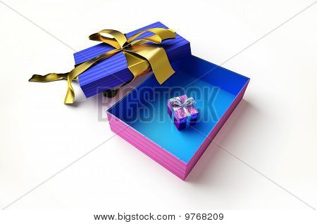 Opened gift box, with another very small gift inside.