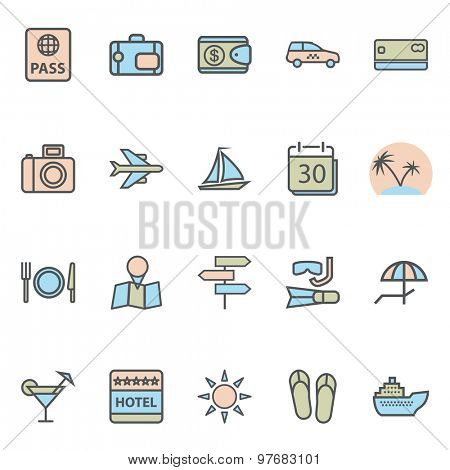 Travel Web Icons and Tourism Symbols. Modern Collection Isolated on white background. Illustration. Vector EPS10.