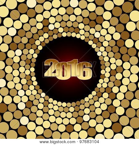 New-year Date on Golden Mosaic Background. Christmas Illustration. Vector EPS10.