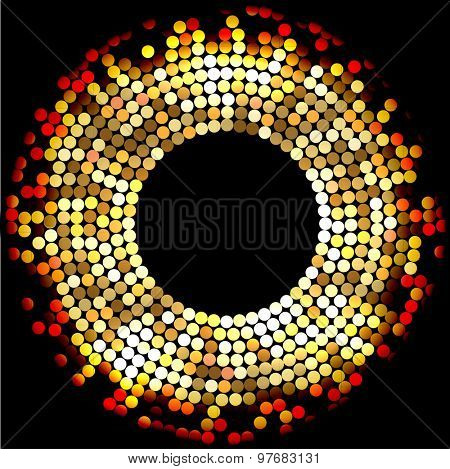 Mosaic Gold Background, on black. Abstract Illustration. Vector EPS10.