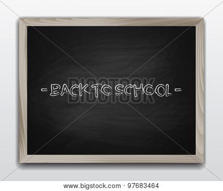 Black chalkboard in wooden frame.