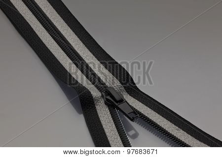Zipper In Black And Gray