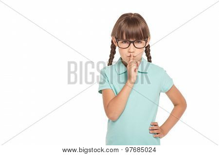 Little girl with two braids isolated on white