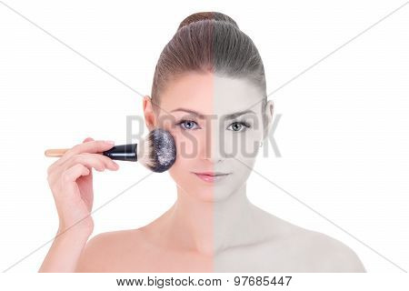 Make Up Concept - Young Beautiful Woman Applying Rouge Or Powder With Brush Isolated On White