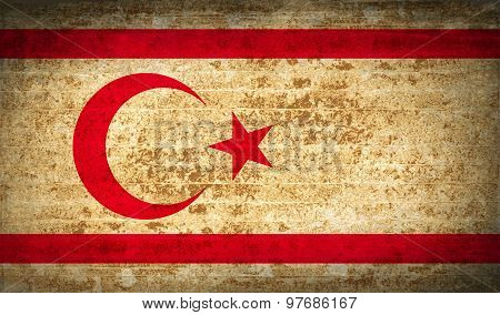 Flags Turkish Northern Cyprus With Dirty Paper Texture. Vector