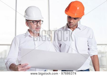 Successful workers are planning of building a new construction