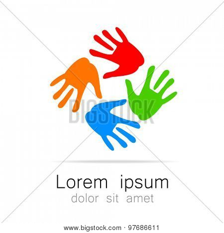 Hands - template logo for the team, fund, association, community. Graphic idea for a company or a social project.