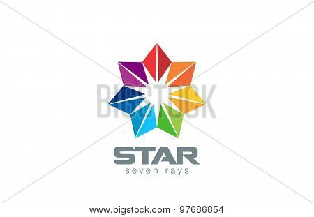 Seven point Star Logo abstract design vector template. Geometric Flower icon. Logotype for social, network, teamwork, community, friendship etc.