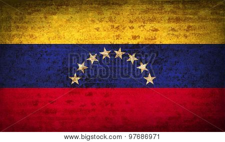 Flags Venezuela With Dirty Paper Texture. Vector