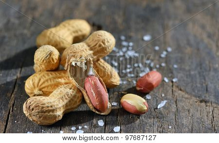 Peanut Isolated On Wooden Background
