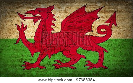 Flags Wales With Dirty Paper Texture. Vector