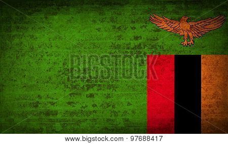Flags Zambia With Dirty Paper Texture. Vector
