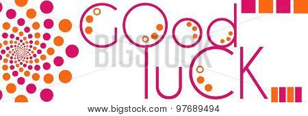 Good Luck Text Peach Pink Circles Horizontal